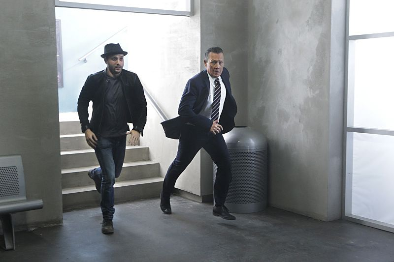 """""""Crazy Train"""" -- Team Scorpion must stop a sabotaged runaway subway train with Paige and Ralph on board. Also, in his attempt to impress Happy, Toby has his first boxing match, on SCORPION, Monday, Nov. 2 (9:00-9:59 PM, ET/PT) on the CBS Television Network. Pictured: Eddie Kaye Thomas as Toby Curtis, Robert Patrick as Agent Cabe Gallo. Photo: Sonja Flemming/CBS ©2015 CBS Broadcasting, Inc. All Rights Reserved"""