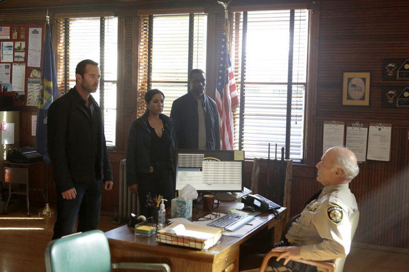 "BLINDSPOT -- ""Sent on Tour"" Episode 107 -- Pictured: (l-r) Sullivan Stapleton as Kurt Weller, Audrey Esparza as Tasha Zapata, Rob Brown as Edgar Reed, Dan Butler as Sheriff Paul Bolton -- (Photo by: Giovanni Rufino/NBC)"