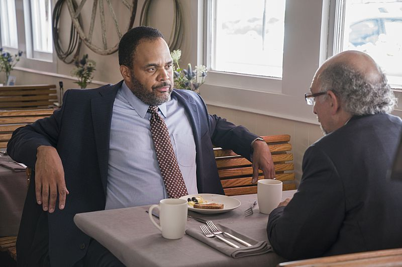 Victor Williams as Detective Jeffries and Richard Schiff as Jon Gottlief in The Affair (season 2, episode 5). - Photo: Mark Schafer/SHOWTIME - Photo ID: TheAffair_205_8639