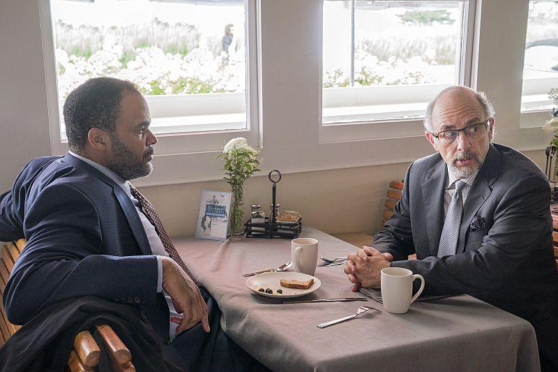 Victor Williams as Detective Jeffries and Richard Schiff as Jon Gottlief in The Affair (season 2, episode 5). - Photo: Mark Schafer/SHOWTIME - Photo ID: TheAffair_205_8433