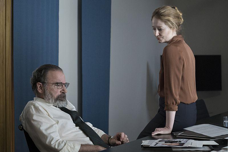 Mandy Patinkin as Saul Berenson and Miranda Otto as Allison Carr in Homeland (Season 5, Episode 05). - Stephan Rabold/SHOWTIME - Photo ID: Homeland_505_4180.R