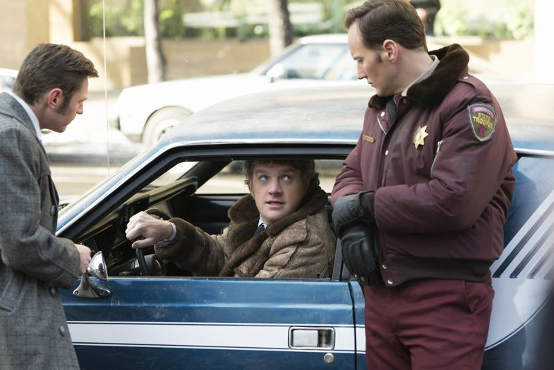 """FARGO -- """"The Myth of Sisyphus"""" -- Episode 203 (Airs October 26, 10:00 pm e/p) Pictured: (l-r) Keir O'Donnell as Ben Schmidt, Mike Bradecich as Skip Sprang, Patrick Wilson as Lou Solverson. CR: Chris Large/FX"""