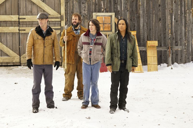 "FARGO -- ""Before The Law"" -- Episode 202 (Airs October 19, 10:00 pm e/p) Pictured: (l-r) Jeffrey Donovan as Dodd Gerhardt, Angus Sampson as Bear Gerhardt, Allan Dobrescu as Charlie Gerhardt, Zahn McClarnon as Ohanzee Dent. CR: Chris Large/FX"