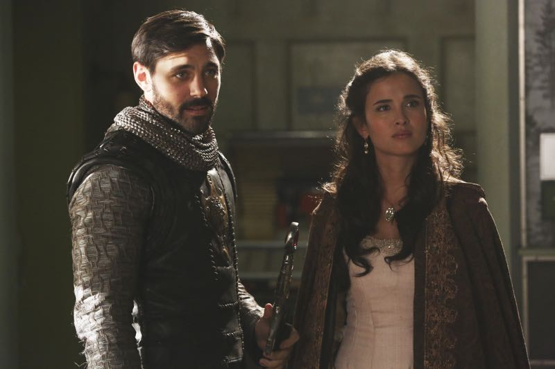 """ONCE UPON A TIME - """"The Broken Kingdom"""" - After receiving a cryptic warning from Lancelot about Arthur's intentions, Mary Margaret realizes Arthur may be the heroes' biggest threat, but when she is unable to convince David of the danger, she takes matters into her own hands. Meanwhile, Hook's unwavering love for Emma provides a glimmer of hope in her struggle against the unrelenting voice of Rumplestiltskin. In a Camelot flashback, Guinevere senses that Arthur is losing his way, consumed by his obsession with making Excalibur whole, so she sets out with Lancelot on her own quest into the heart of darkness. In Storybrooke, Dark Emma unleashes a secret weapon in the next phase of her plan to find the brave soul she needs to draw Excalibur from the stone, on """"Once Upon a Time,"""" SUNDAY, OCTOBER 18 (8:00-9:00 p.m., ET) on the ABC Television Network. (ABC/Jack Rowand) LIAM GARRIGAN, JOANA METRASS"""