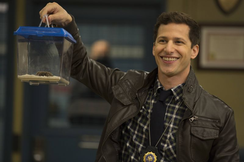 "BROOKLYN NINE-NINE: Jake (Andy Samberg) in the ""Boyle's Hunch"" episode of BROOKLYN NINE-NINE airing Sunday, Oct. 4 (8:30-9:00 PM ET/PT) on FOX. ©2015 Fox Broadcasting Co. CR: John P Fleenor/FOX."