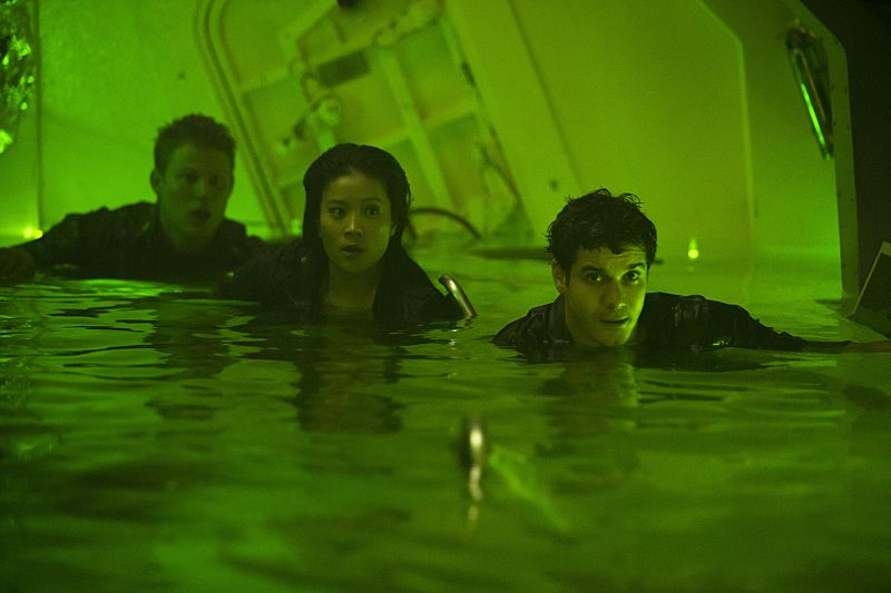"""Robots"" -- Walter, Cabe and Happy are trapped with the crew in a top secret submarine when an explosion sends it to the bottom of the ocean with limited oxygen and a self-destruct function that will soon activate, on SCORPION, Monday, Oct. 12 (9:00-9:59 PM, ET/PT) on the CBS Television Network. Pictured: Jadyn Wong as Happy Quinn, Elyes Gabel as Walter O'Brien. Photo: Sonja Flemming/CBS ©2015 CBS Broadcasting, Inc. All Rights Reserved"