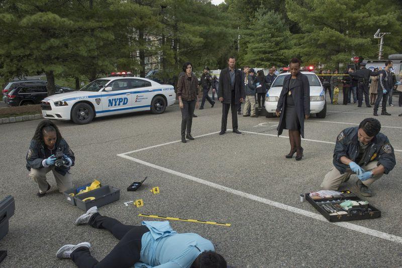 "BLINDSPOT -- ""Persecute Envoys"" Episode 108 -- Pictured: (l-r) Jaimie Alexander as Jane Doe, Sullivan Stapleton as Kurt Weller, Marianne Jean-Baptiste as Bethany Mayfair -- (Photo by: Barbara Nitke/NBC)"
