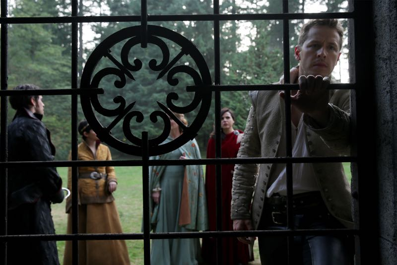 "ONCE UPON A TIME - ""Nimue"" - In Camelot, Merlin spearheads a mission to reunite the dagger with Excalibur so he can use the weapon to save Emma from the darkness threatening her soul. With Zelena in tow, Hook, Mary Margaret, David, Regina and Robin steal into Arthur's castle to take the broken sword from the maniacal king. Meanwhile, Merlin brings Emma along on a journey to confront his ancient nemesis and retrieve the sacred spark he'll need to reforge Excalibur. Both parties are tested, but one suffers a blow that could derail the entire operation. In a flashback to long before the Age of Arthur, young Merlin finds purpose after he is blessed with magic and immortality, but when he falls in love with a young refugee named Nimue, everything changes for Merlin, as their romance starts a chain of events that touches every one of our present day heroes, on ""Once Upon a Time,"" SUNDAY, NOVEMBER 8 (8:00-9:00 p.m., ET) on the ABC Television Network. (ABC/Jack Rowand) COLIN O'DONOGHUE, GINNIFER GOODWIN, REBECCA MADER, LANA PARRILLA, JOSH DALLAS"