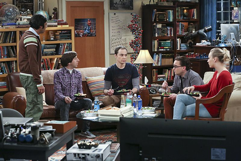"""The Empathy Optimization"" -- After having to deal with a sick Sheldon, Leonard, Penny and the gang try to treat themselves to a Sheldon-free weekend, on THE BIG BANG THEORY, Thursday, Jan. 14 (8:00-8:31, ET/PT), on the CBS Television Network. Pictured left to right: Kunal Nayyar, Simon Helberg, Jim Parsons, Johnny Galecki and Kaley Cuoco Photo: Michael Yarish/Warner Bros. Entertainment Inc. © 2015 WBEI. All rights reserved."
