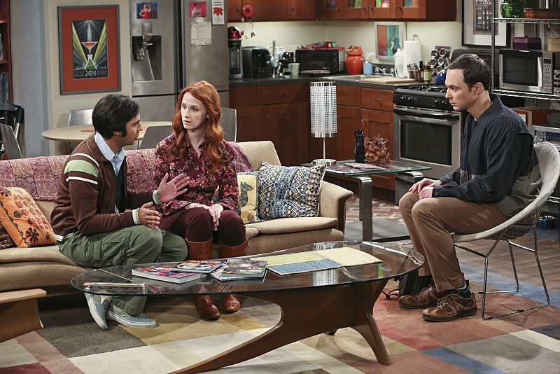 """The Empathy Optimization"" -- After having to deal with a sick Sheldon, Leonard, Penny and the gang try to treat themselves to a Sheldon-free weekend, on THE BIG BANG THEORY, Thursday, Jan. 14 (8:00-8:31, Pictured left to right: Kunal Nayyar, Laura Spencer and Jim Parsons Photo: Michael Yarish/Warner Bros. Entertainment Inc. © 2015 WBEI. All rights reserved."