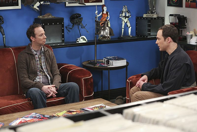 """The Empathy Optimization"" -- After having to deal with a sick Sheldon, Leonard, Penny and the gang try to treat themselves to a Sheldon-free weekend, on THE BIG BANG THEORY, Thursday, Jan. 14 (8:00-8:31, Pictured left to right: Kevin Sussman and Jim Parsons Photo: Michael Yarish/Warner Bros. Entertainment Inc. © 2015 WBEI. All rights reserved."