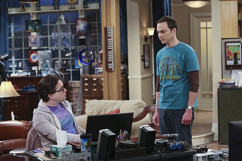 """The Empathy Optimization"" -- After having to deal with a sick Sheldon, (Jim Parsons, right) Leonard, (Johnny Galecki, left) Penny and the gang try to treat themselves to a Sheldon-free weekend, on THE BIG BANG THEORY, Thursday, Jan. 14 (8:00-8:31, ET/PT), on the CBS Television Network. Photo: Michael Yarish/Warner Bros. Entertainment Inc. © 2015 WBEI. All rights reserved."