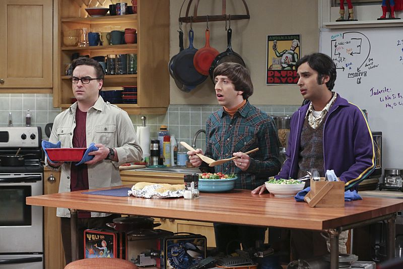 """The Empathy Optimization"" -- After having to deal with a sick Sheldon, Leonard, Penny and the gang try to treat themselves to a Sheldon-free weekend, on THE BIG BANG THEORY, Thursday, Jan. 14 (8:00-8:31, ET/PT), on the CBS Television Network. Pictured left to right: Johnny Galecki, Simon Helberg and Kunal Nayyar Photo: Michael Yarish/Warner Bros. Entertainment Inc. © 2015 WBEI. All rights reserved."