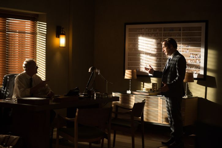 Bob Odenkirk as Jimmy McGill and Ed Begley Jr. as Clifford Main - Better Call Saul _ Season 2, Episode 2 - Photo Credit: Ursula Coyote/Sony Pictures Television/ AMC