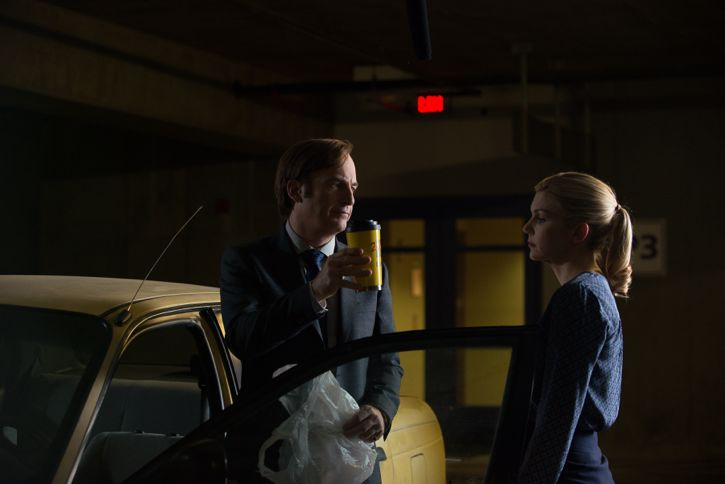 Bob Odenkirk as Jimmy McGill and Rhea Seehorn as Kim Wexler - Better Call Saul _ Season 2, Episode 2 - Photo Credit: Ursula Coyote/Sony Pictures Television/ AMC