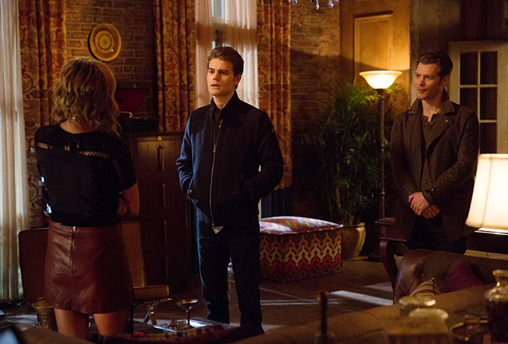 """The Originals -- """"A Streetcar Named Desire"""" -- Image Number: OG314b_0119.jpg -- Pictured (L-R): Riley Voelkel as Freya, Paul Wesley as Stefan and Joseph Morgan as Klaus -- Photo: Annette Brown/The CW -- © 2016 The CW Network, LLC. All rights reserved."""
