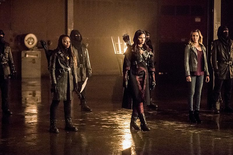 """Arrow -- """"Sins of the Father"""" -- Image AR413b_0330b.jpg -- Pictured (L-R): Natasha Gayle as Talibah, Katrina Law as Nyssa al Ghul, and Katie Cassidy as Laurel Lance -- Photo: Dean Buscher/ The CW -- © 2016 The CW Network, LLC. All Rights Reserved."""