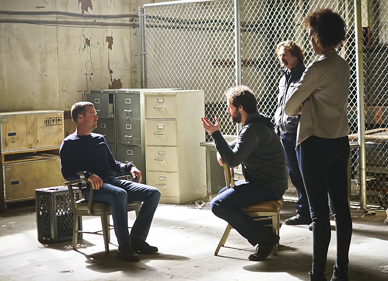 """Head of the Snake"" -- Pictured: Chris O'Donnell (Special Agent G. Callen), Peter Cambor (Operational Psychologist Nate Getz) and Judith Shekoni (Alisa Chambers). After Operational Psychologist Nate Getz (Peter Cambor) fails to check in with Hetty while working undercover on a mission linking organized crime to terrorism, the team learns he is working with an infamous crime leader, on NCIS: LOS ANGELES, Monday, April 11 (9:59-11:00, ET/PT), on the CBS Television Network. Photo: Monty Brinton/CBS ©2016 CBS Broadcasting, Inc. All Rights Reserved."