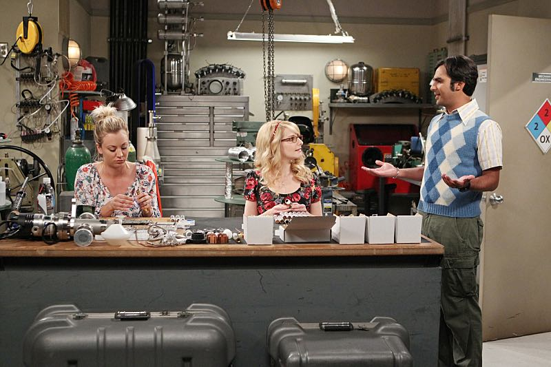 """The Solder Excursion Diversion"" --Koothrappali (Kunal Nayyar, right) sells out Leonard and Wolowitz after they lie to their wives in order to attend an early screening of a movie, on THE BIG BANG THEORY, Thursday, March 31 (8:00-8:31 PM, ET/PT) on the CBS Television Network. Pictured left to right: Kaley Cuoco, Melissa Rauch and Kunal Nayyar Photo: Sonja Flemming/CBS ©2016 CBS Broadcasting, Inc. All Rights Reserved"