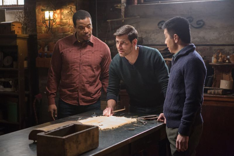 "GRIMM -- ""Silence of the Slams"" Episode 513 -- Pictured: (l-r) Russell Hornsby as Hank Griffin, David Giuntoli as Nick Burkhardt, Reggie Lee as Sergeant Wu -- (Photo by: Scott Green/NBC)"