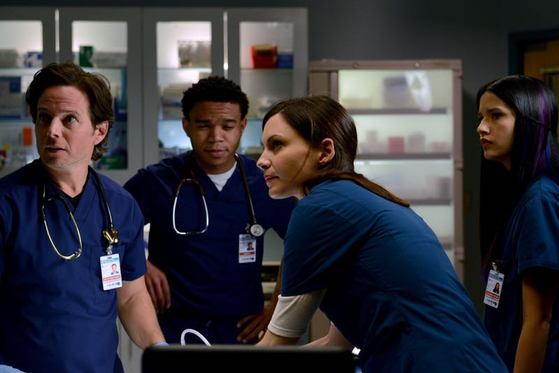 """THE NIGHT SHIFT -- """"The Times They Are-A-Changin"""" Episode 301 -- Pictured: (l-r) Scott Wolf as Dr. Scott Clemmens, Robert Bailey Jr. as Dr. Paul Cummings, Tanaya Beatty as Shannon Rivera, Jill Flint as Dr. Jordan Alexander -- (Photo by: Ursula Coyote/NBC)"""