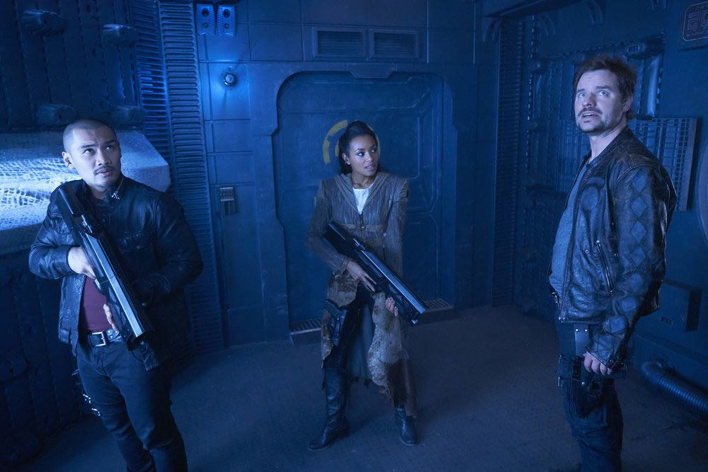 """DARK MATTER -- """"We Should Have Seen This Coming"""" Episode 206 -- Pictured: (l-r) Alex Mallari, Jr. as Four, Melanie Liburd as Nyx, Anthony Lemke as Three -- (Photo by: Steve Wilkie/Prodigy Pictures/Syfy)"""