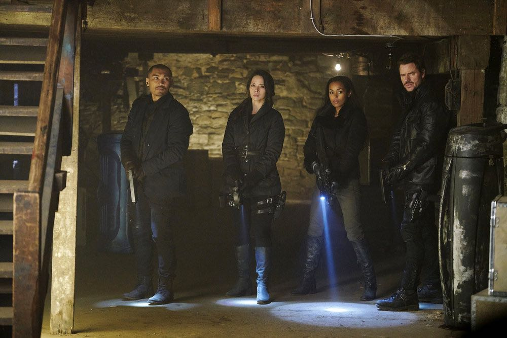 "DARK MATTER -- ""We Voted Not to Space You"" Episode 205 -- Pictured: (l-r) Alex Mallari, Jr. as Four, Melissa O'Neil as Two, Melanie Liburd as Nyx, Anthony Lemke as Three -- (Photo by: Steve Wilkie/Prodigy Pictures/Syfy)"