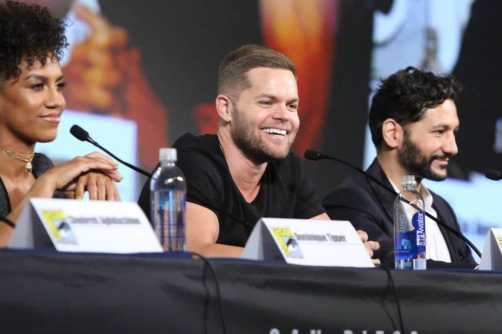"""COMIC-CON INTERNATIONAL: SAN DIEGO -- """"The Expanse Panel"""" -- Pictured: (l-r) Dominique Tipper, Wes Chatham, Cas Anvar -- (Photo by: Evans Vestal Ward/Syfy)"""