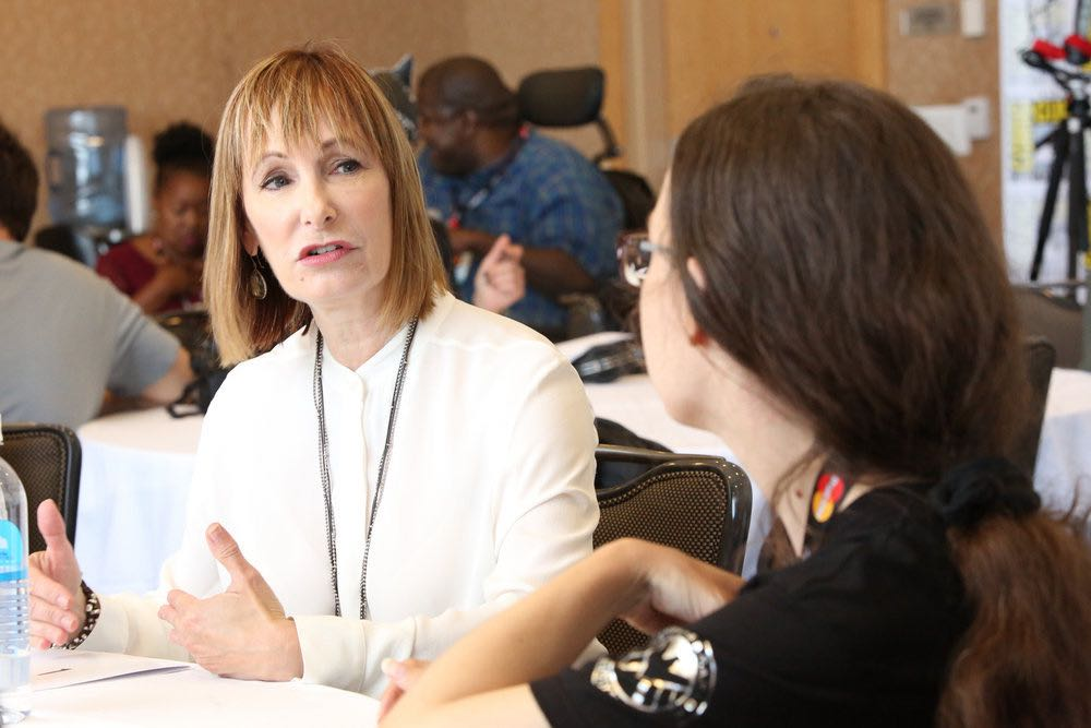 """COMIC-CON INTERNATIONAL: SAN DIEGO -- """"Falling Water Press Room"""" -- Pictured: Executive Producer Gale Anne Hurd -- (Photo by: Evans Vestal Ward/USA Network)"""