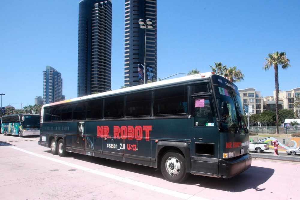 """COMIC-CON INTERNATIONAL: SAN DIEGO 2016 -- """"NBC at Comic-Con"""" -- Pictured: """"Mr. Robot"""" Bus Wrap -- (Photo by: David Yeh/USA)"""