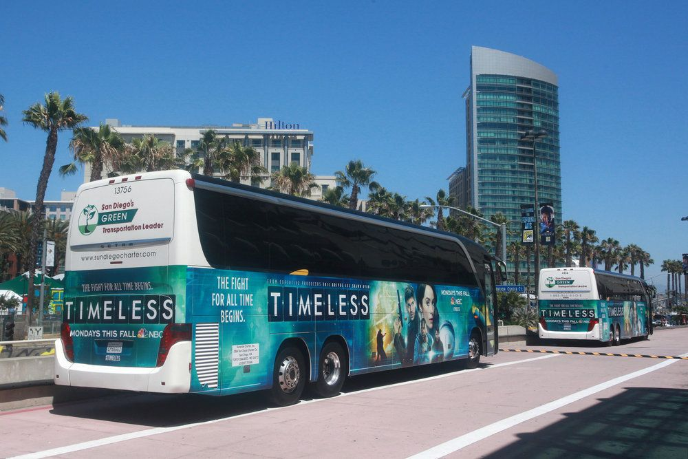 """COMIC-CON INTERNATIONAL: SAN DIEGO 2016 -- """"NBC at Comic-Con"""" -- Pictured: """"Timeless"""" Bus Wrap -- (Photo by: David Yeh/NBC)"""