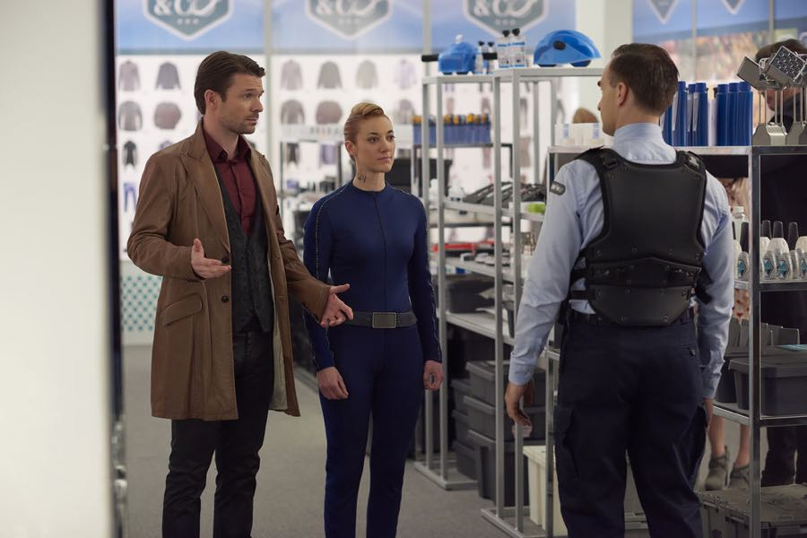 """DARK MATTER -- """"We Were Family"""" Episode 204 -- Pictured: Zoie Palmer as The Android -- (Photo by: Russ Martin/Prodigy Pictures/Syfy)"""