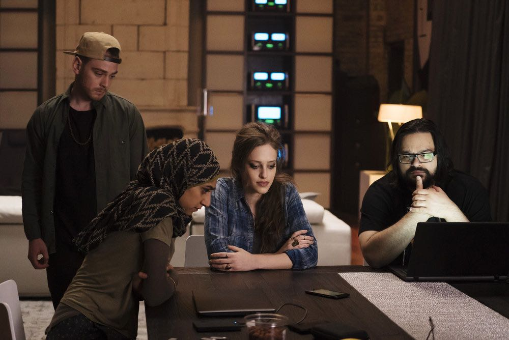 "MR. ROBOT -- ""eps2.5_h4ndshake.sme"" Episode 207 -- Pictured: (l-r) Michael Drayer as Cisco, Sunita Mani as Trenton, Carly Chaikin as Darlene, Azar Khan as Mobley -- (Photo by: Peter Kramer/USA Network)"