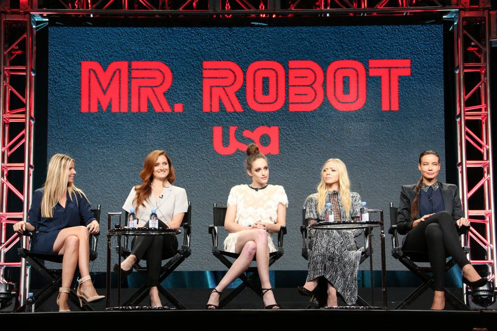 """NBCUNIVERSAL EVENTS -- NBCUniversal Summer Press Tour, August 3, 2016 -- USA's """"Mr. Robot"""" Panel: """"Decoding Season_2.0 With The Women of Mr. Robot"""" -- Pictured: (l-r) Dawn Olmsted, Executive Vice President, Universal Cable Productions and Wilshire Studios; Grace Gummer, Carly Chaikin, Portia Doubleday, Stephanie Corneliussen -- (Photo by: Evans Vestal Ward/NBCUniversal)"""