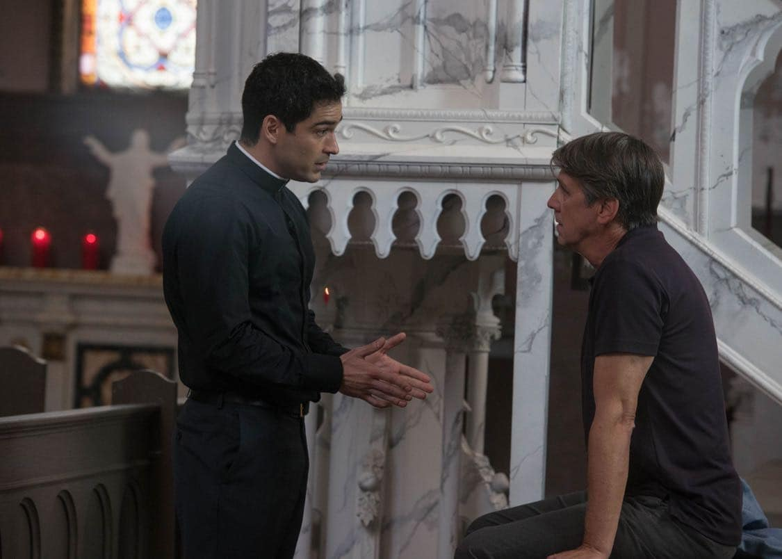 "THE EXORCIST: L-R: Alfonso Herrera and Alan Ruck in the ""Chapter Three: Let 'Em In"" episode of THE EXORCIST airing Friday, Oct. 7 (9:00-10:00 PM ET/PT) on FOX. ©2016 Fox Broadcasting Co. Cr: Jean Whiteside/FOX"