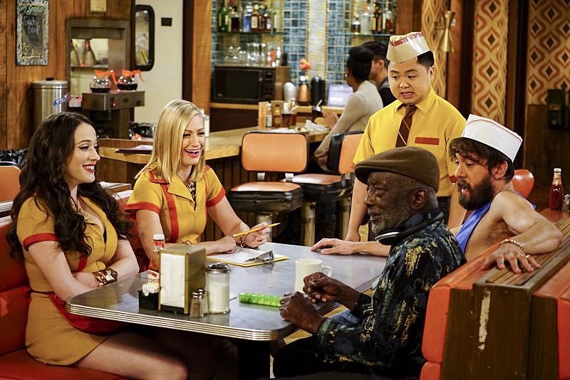 """""""And The Two Openings: Part One"""" -- Pictured: Max Black (Kat Dennings), Caroline Channing (Beth Behrs), Han Lee (Matthew Moy), Earl (Garrett Morris) and Oleg (Jonathan Kite). As Max and Caroline, now part owners of the diner, put the finishing touches on their newly converted Dessert Bar, Max deals with the aftermath of her recent breakup with Randy, and Sophie and Oleg prepare for the birth of their baby, on the sixth season premiere of 2 BROKE GIRLS, Monday, Oct. 10 (9:00-9:30 PM, ET/PT) on the CBS Television Network. Photo: Sonja Flemming/CBS ©2016 CBS Broadcasting, Inc. All Rights Reserved"""