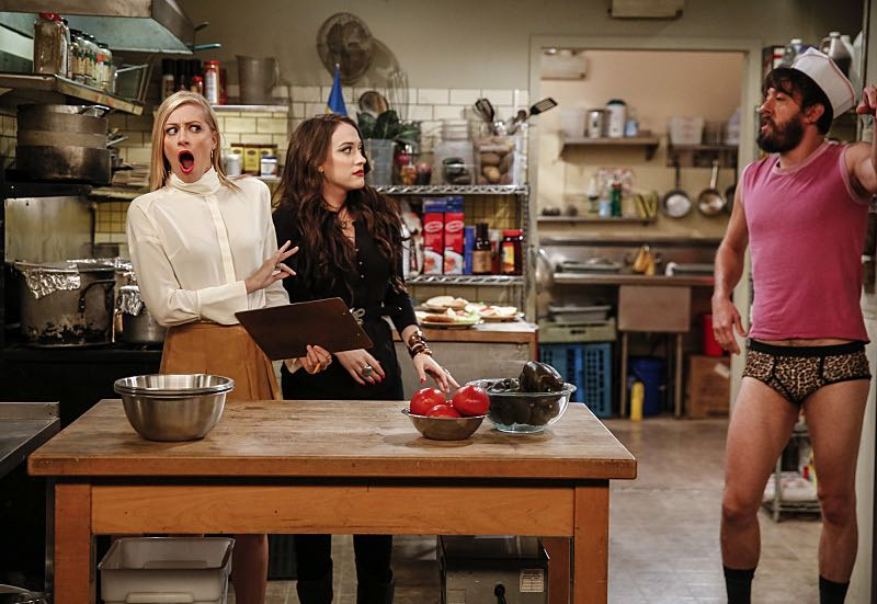 """And The Two Openings: Part One"" -- Pictured: Caroline Channing (Beth Behrs), Max Black (Kat Dennings) and Oleg (Jonathan Kite). As Max and Caroline, now part owners of the diner, put the finishing touches on their newly converted Dessert Bar, Max deals with the aftermath of her recent breakup with Randy, and Sophie and Oleg prepare for the birth of their baby, on the sixth season premiere of 2 BROKE GIRLS, Monday, Oct. 10 (9:00-9:30 PM, ET/PT) on the CBS Television Network. Photo: Cliff Lipson/CBS ©2016 CBS Broadcasting, Inc. All Rights Reserved. All rights reserved."
