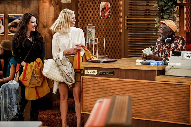 """""""And The Two Openings: Part One"""" -- Pictured: Max Black (Kat Dennings), Caroline Channing (Beth Behrs) and Earl (Garrett Morris). As Max and Caroline, now part owners of the diner, put the finishing touches on their newly converted Dessert Bar, Max deals with the aftermath of her recent breakup with Randy, and Sophie and Oleg prepare for the birth of their baby, on the sixth season premiere of 2 BROKE GIRLS, Monday, Oct. 10 (9:00-9:30 PM, ET/PT) on the CBS Television Network. Photo: Cliff Lipson/CBS ©2016 CBS Broadcasting, Inc. All Rights Reserved. All rights reserved."""