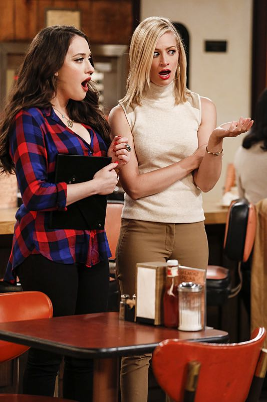 """""""And The Two Openings: Part One"""" -- Pictured: Max Black (Kat Dennings) and Caroline Channing (Beth Behrs).As Max and Caroline, now part owners of the diner, put the finishing touches on their newly converted Dessert Bar, Max deals with the aftermath of her recent breakup with Randy, and Sophie and Oleg prepare for the birth of their baby, on the sixth season premiere of 2 BROKE GIRLS, Monday, Oct. 10 (9:00-9:30 PM, ET/PT) on the CBS Television Network. Photo: Cliff Lipson/CBS ©2016 CBS Broadcasting, Inc. All Rights Reserved. All rights reserved."""