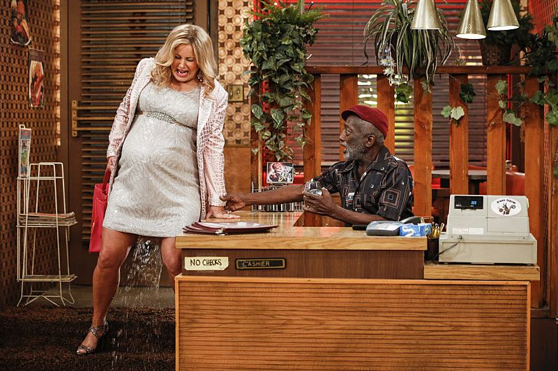 """""""And The Two Openings: Part One"""" -- Pictured: Sophie (Jennifer Coolidge) and Earl (Garrett Morris).As Max and Caroline, now part owners of the diner, put the finishing touches on their newly converted Dessert Bar, Max deals with the aftermath of her recent breakup with Randy, and Sophie and Oleg prepare for the birth of their baby, on the sixth season premiere of 2 BROKE GIRLS, Monday, Oct. 10 (9:00-9:30 PM, ET/PT) on the CBS Television Network. Photo: Cliff Lipson/CBS ©2016 CBS Broadcasting, Inc. All Rights Reserved. All rights reserved."""