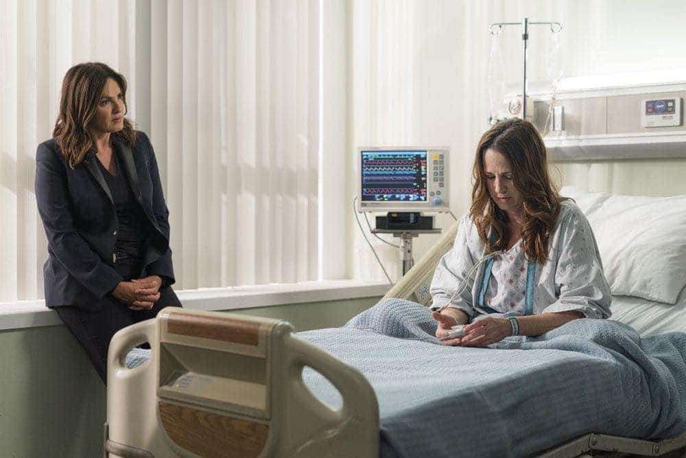 """LAW & ORDER: SPECIAL VICTIMS UNIT -- """"Imposter"""" Episode 1803 -- Pictured: (l-r) Mariska Hargitay as Lieutenant Olivia Benson, Paula Marshall as Laura Collett -- (Photo by: Michael Parmelee/NBC)"""