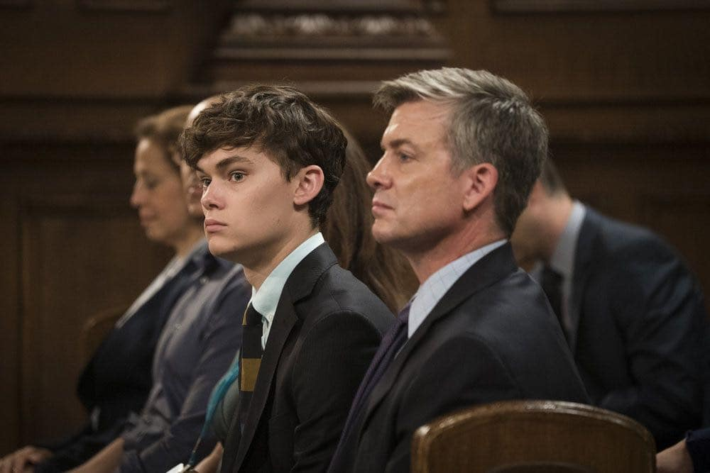 """LAW & ORDER: SPECIAL VICTIMS UNIT -- """"Imposter"""" Episode 1803 -- Pictured: (l-r) Conor Proft as Justin Collett, Chris Henrey Coffey as James Collett -- (Photo by: Michael Parmelee/NBC)"""