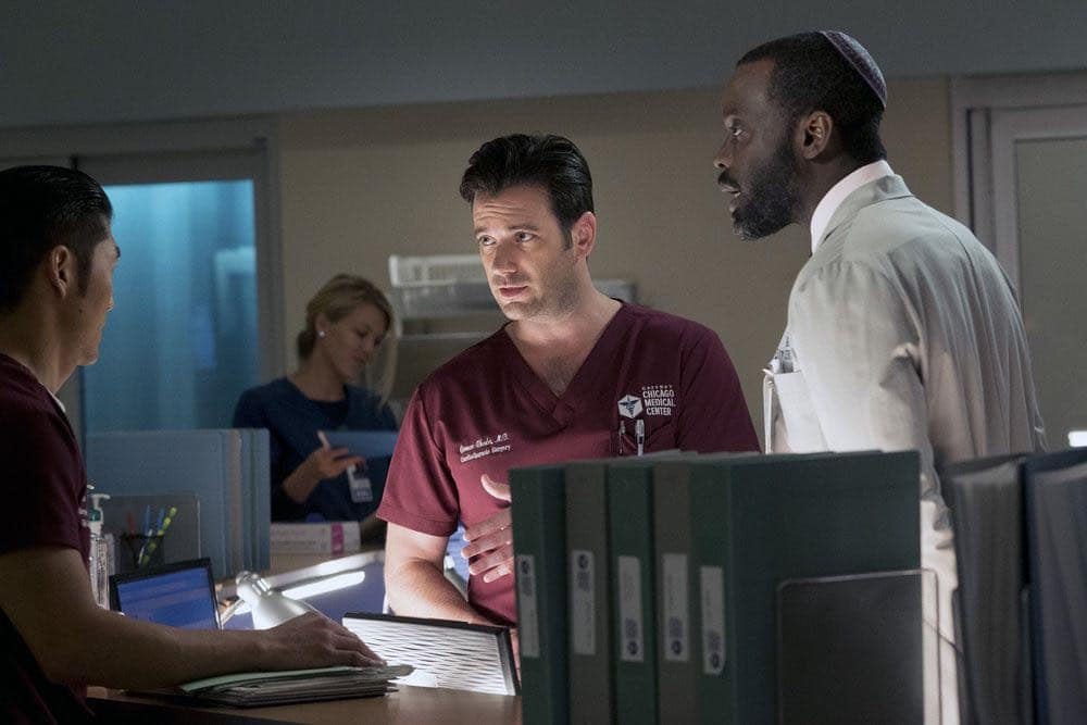 """CHICAGO MED -- """"Brother's Keeper"""" Episode 204 -- Pictured: (l-r) Brian Tee as Ethan Choi, Colin Donnell as Connor Rhodes, Ato Essandoh as Isidore Latham -- (Photo by: Elizabeth Sisson/NBC)"""