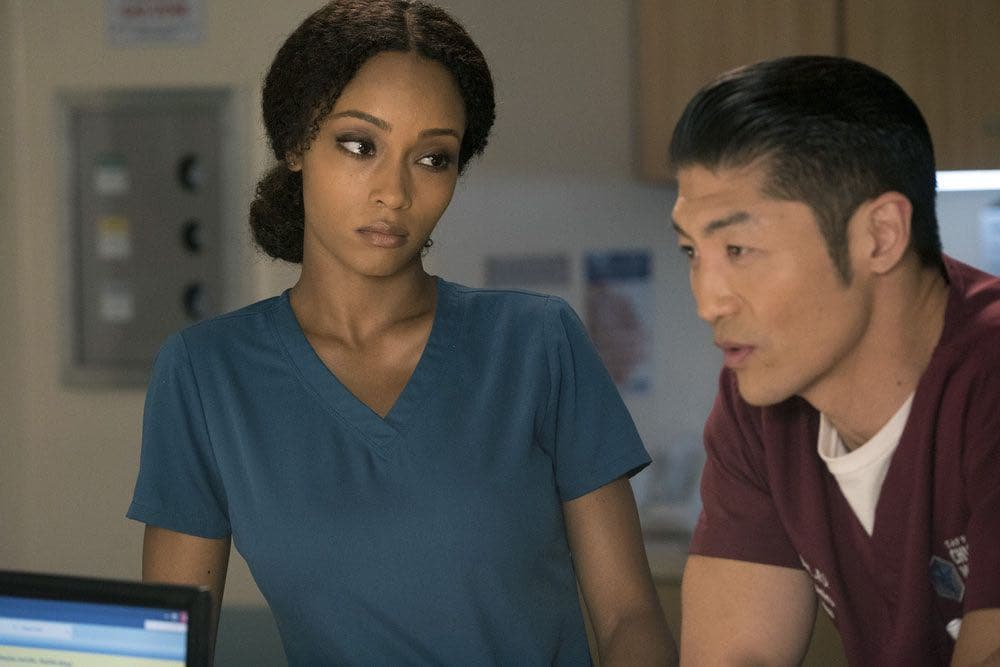 """CHICAGO MED -- """"Brother's Keeper"""" Episode 204 -- Pictured: (l-r) Yaya DaCosta as April Sexton, Brian Tee as Ethan Choi -- (Photo by: Elizabeth Sisson/NBC)"""