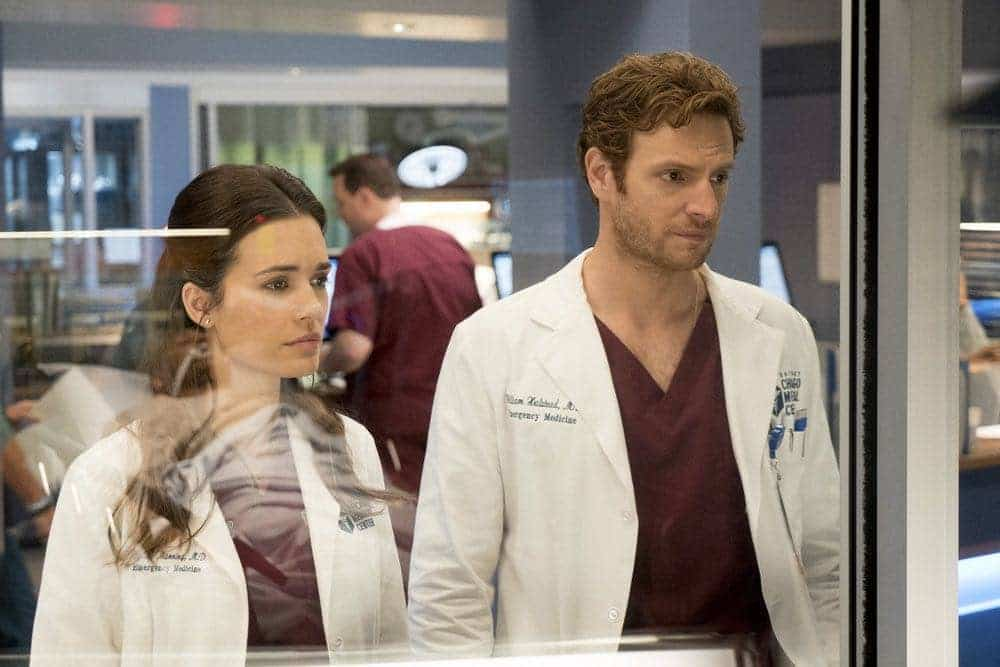 "CHICAGO MED -- ""Brother's Keeper"" Episode 204 -- Pictured: (l-r) Torrey DeVitto as Natalie Manning, Nick Gehlfuss as Will Halstead -- (Photo by: Elizabeth Sisson/NBC)"