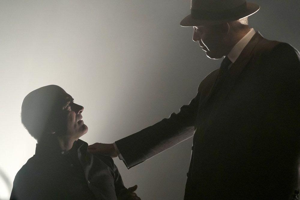 "THE BLACKLIST -- ""Gaia: #81"" Episode 404 -- Pictured: (l-r) Matt Servitto as Dr. Sebastian Reifler, James Spader as Raymond ""Red"" Reddington -- (Photo by: Virginia Sherwood/NBC)"