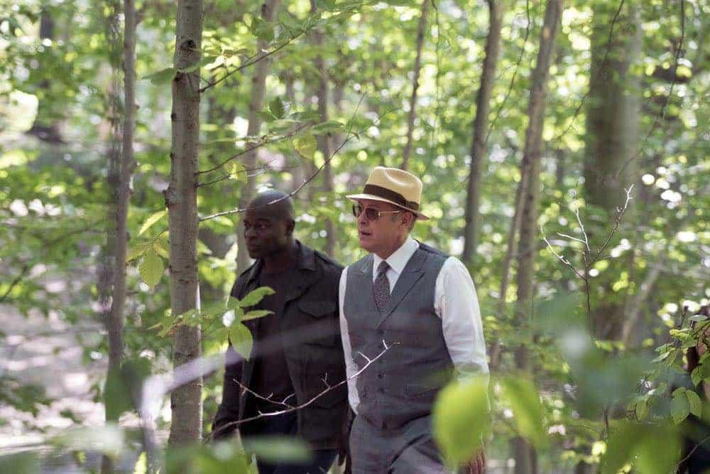 "THE BLACKLIST -- ""Gaia: #81"" Episode 404 -- Pictured: (l-r) Hisham Tawfiq as Dembe Zuma, James Spader as Raymond ""Red"" Reddington -- (Photo by: Virginia Sherwood/NBC)"