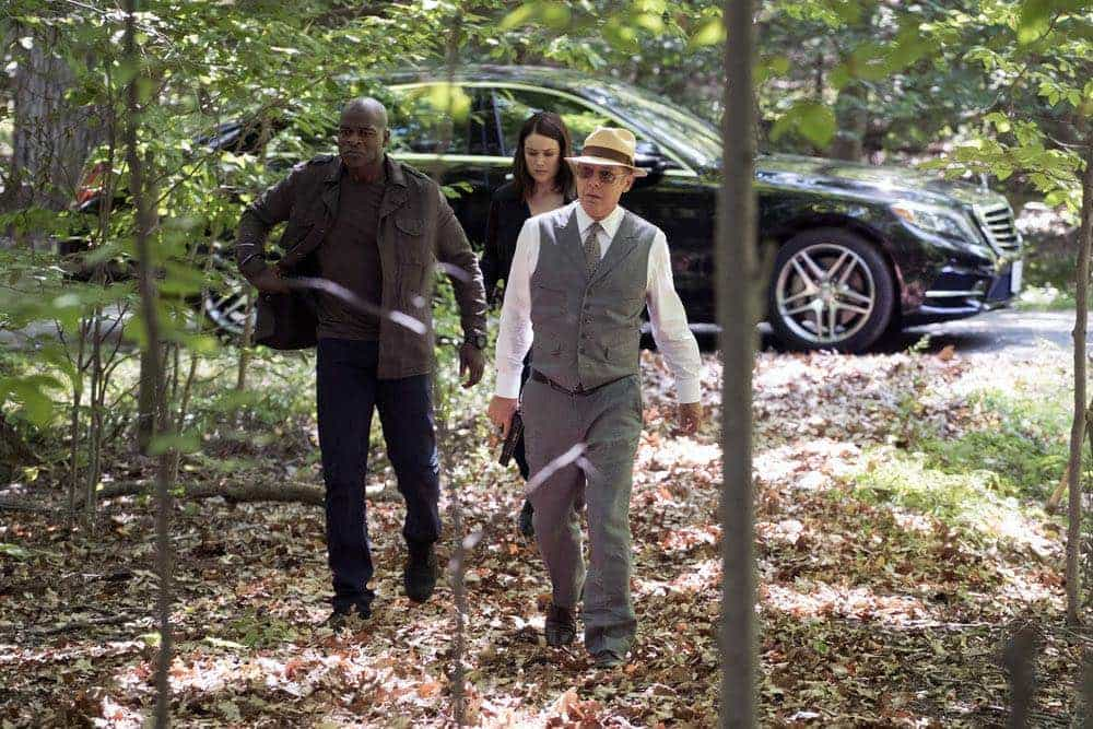 "THE BLACKLIST -- ""Gaia: #81"" Episode 404 -- Pictured: (l-r) Hisham Tawfiq as Dembe Zuma, Megan Boone as Elizabeth Keen, James Spader as Raymond ""Red"" Reddington -- (Photo by: Virginia Sherwood/NBC)"