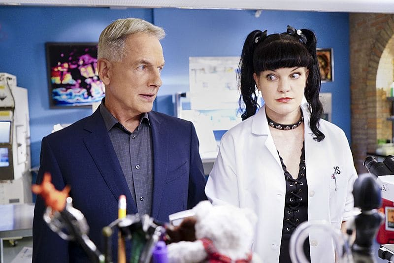 """Privileged Information"" -- When the NCIS team investigates a marine sergeant's tragic fall from a building, her doctor, Grace Confalone (Laura San Giacomo), confides in Gibbs and suggests he treat it as a murder investigation. Also, Torres searches for a place to live, on NCIS, Tuesday, Oct. 4 (8:00-9:00 PM, ET/PT), on the CBS Television Network. Pictured: Mark Harmon, Pauley Perrette Photo: Sonja Flemming/CBS ©2016 CBS Broadcasting, Inc. All Rights Reserved"
