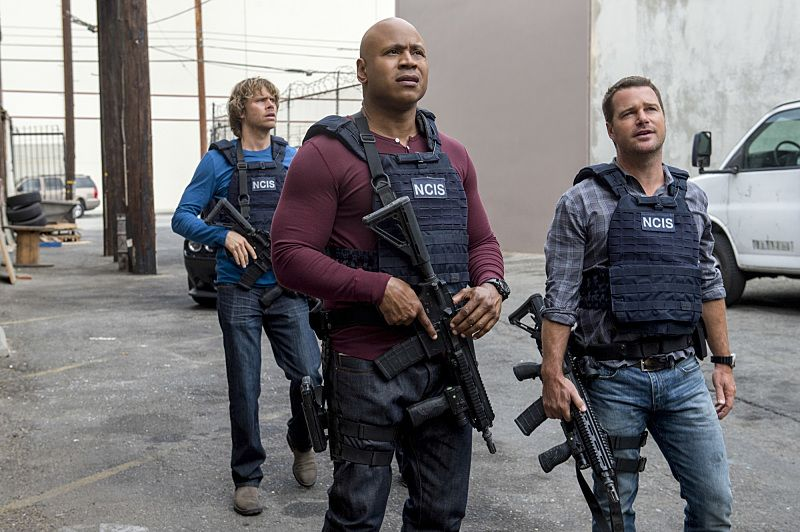 """""""Black Market"""" -- Pictured: Eric Christian Olsen (LAPD Liaison Marty Deeks), LL COOL J (Special Agent Sam Hanna) and Chris O'Donnell (Special Agent G. Callen). After a Homeland Security agent is poisoned by a notorious Triad assassin, NCIS uncovers a warehouse of counterfeit purses and a money trail to stolen government funds. Also, Nell joins the team in the field, on NCIS: LOS ANGELES, Sunday, Oct. 16 (8:00-9:00 PM, ET/PT), on the CBS Television Network. Photo: Neil Jacobs/CBS ©2016 CBS Broadcasting, Inc. All Rights Reserved."""